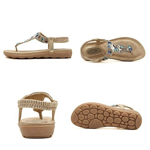 Women's Bohemian Sandals Leisure Beaded Slippers with Rhinestone Ladies Thong Sandals Summer Crystal Sandals Slingback Flip Flops Beach (8 US/EU 39, - Lady Fancy Flat Shoes