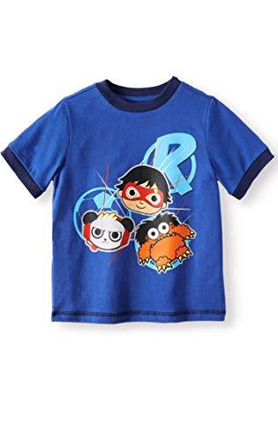 Ryan's World Pocket Watch Boy's Graphic Novelty Tee Shirt - Panda, Moe, Red Titan - Pocket Shirt Titan