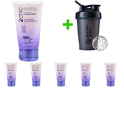 Giovanni, 2chic, Repairing Conditioner, for Damaged, Over Processed Hair, Blackberry & Coconut Milk, 1.5 fl oz (44 ml)(6 Pack(s)+Sundesa, Blender Bottle, Classic With Loop, 20 oz