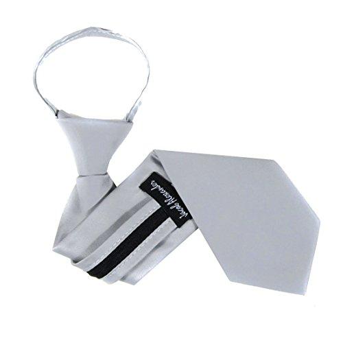 B-ZIP-ADF-12 - Boys Solid Formal Tuxedo 14 inch Zipper Necktie, Silver, One Size