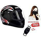 JMD Helmets Elegant Elegant Graphic, Full Face Helmet (Black and Red, L)