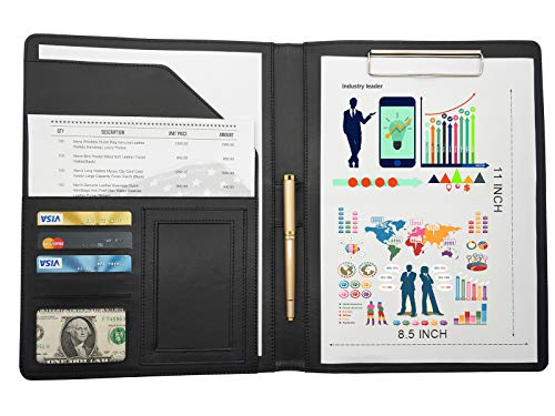 8.5×11 Paper PU Leather Portfolio Business Folder.Professional Business Presentation Business Notebook Folder.Personalization Business Archive Pocket Folder Business Cardf for Man Women(Black)