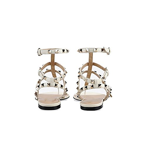con Slipper Toe Pan Sandali Heel 45EU Bianco Heels Caitlin Block Mid 35 Borchie Borchie per Dress Open Donna Sandals Infradito Chunky Slide con Aqx0X