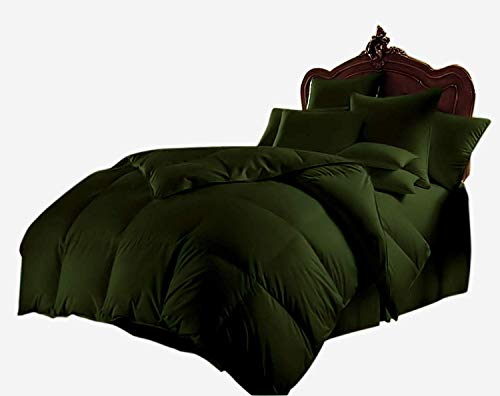 ThreadNight Bedding Softest 300 GSM 8Pc Cotton Bed-in-a-Bag Quilt Down Alternative Box Stiched Comforter Set (90'' x 106'') 800 Series Duvet Set + Sheet Set + Comforter, Cal. King, Olive