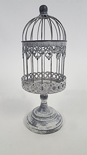 - Antique Beige Small Iron Bird Cage on Stand