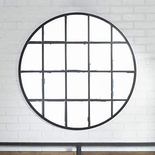 Walker Edison Furniture Company Modern Farmhouse Round Circle Grid Wall Mirror, 40 , Black Black