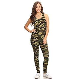 Jvini Women's 2 Piece Camouflage Active Stretchy Racerback Tank & Legging Set