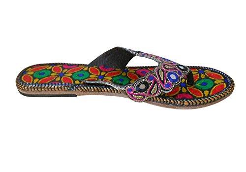 Zapatillas Multicolor Mujer Piel Tradicional Fiesta Kalra Indio Creations De wxZTq8X