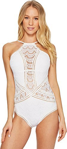 - Becca by Rebecca Virtue Womens Color Play High Neck One-Piece White MD