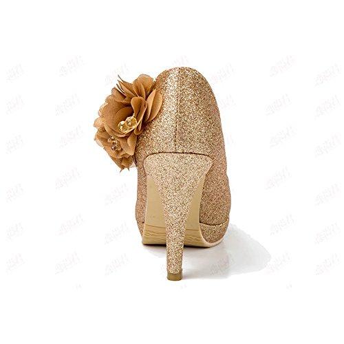 CN36 con de tacón la la moda Zapatillas XUERUI acogedor de Zapatos de nuevos EU36 alto de UK4 mujer Tamaño zapatos deporte correa oro Zapatos tacón de de de qwx66TIpf
