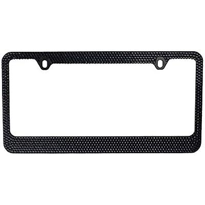 BLVD-LPF.COM Inc. Popular Bling 7 Row Black Color Crystal Metal Chrome License Plate Frame with Screw Caps - 1 Frame: Automotive