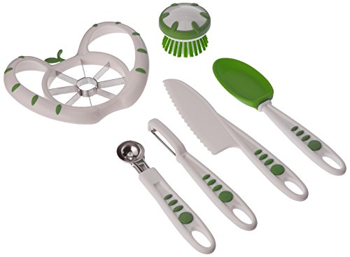 Real Kitchen Tools and Cookbook for Kids - Curious Chef Kids 6-Piece Fruit and Veggie Prep Kit