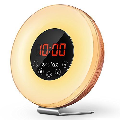 COULAX 2018 Upgraded Wood Wake Up Light with Sunrise Sunset Simulation,7 Colored LED Lights, 6 Natural Sounds, FM Radios,10 Brightness Levels,Snooze Function Alarm Clock with Adapter Set Wood Clock