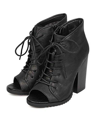 Markera Maddux Ei55 Kvinnor Läder Peep Toe Snörning Chunky Häl Toffeln - Svart
