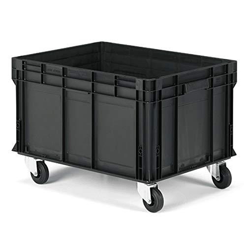 Disset Odiseo FPA9352AF07 Serie Athena Aufbewahrungsbox aus ABS-Kunststoff mit Rädern, glattes Pared, geschlossener Griff, glatt, schwarz, 130 l, 800 mm x 600 mm x 450 mm