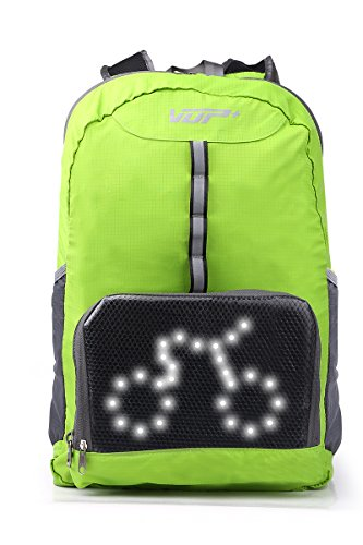 VUP Plus Foldable Cycling Backpack with LED Signal Light Wireless Remote Controled, Light Weighted, Super Breathable, Water Resistant - - Sunglasses Super Racer