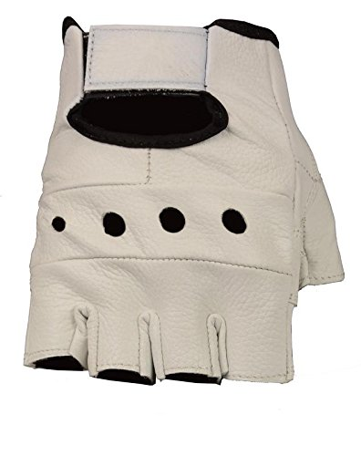 - The Bikers Zone Leather Fingerless Gloves, Soft Lambskin Leather (White, M)