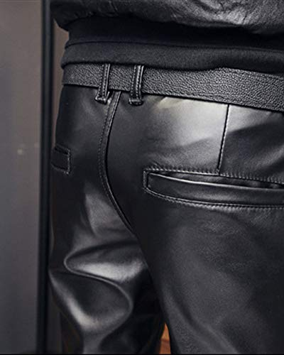 Slim Caldo Da Pantaloni Uomo Moto Pelle Pu Fit Di Casual Nero Impermeabili 71x1qz0w