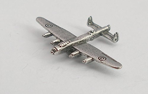 Lancaster Cufflinks - Solid Pewter Avro Lancaster Bomber Plane Pin Badge