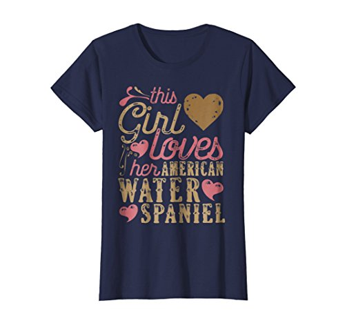 Womens American Water Spaniel Shirt Gift Dog Lover T-Shirt Tee Dogs Small Navy