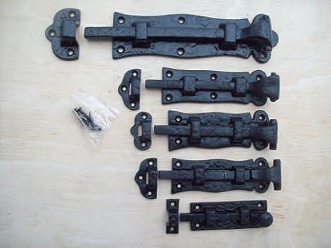 Ironmongery World®, cerrojo deslizante para puerta de hierro fundido, color negro envejecido