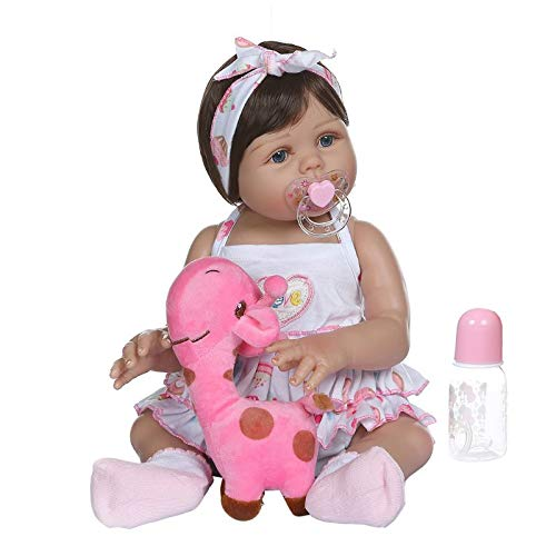 12 ZUIMEI 22'' Rebirth Doll Realistic Soft Silicone Vinyl Newborn Baby Toy Girl Princess Clothes Pacifier Realistic Handmade Gifts