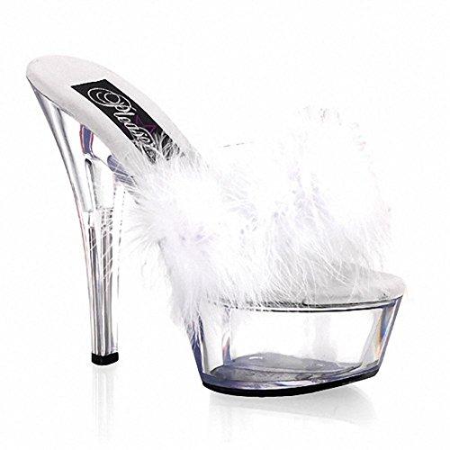 SYYAN Damen Sommer Wasserdichtes Ultrafein hoher verfolgter Art und Weise Kristall Bottom Dekoration Diskothek Plüsch Sandalen , white , 38