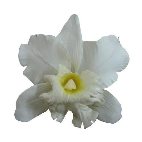 Silk Orchid Flower Hair Clip Bridal Wedding (White)