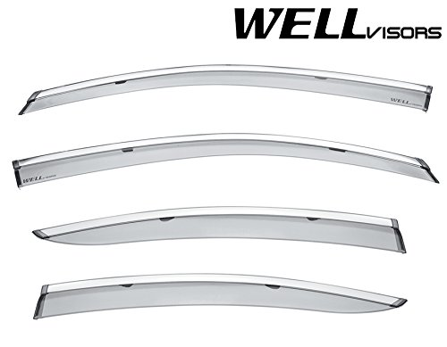 WellVisors Side Window Wind Deflector Visors - Made for and Compatible with Subaru Legacy 15-17 2015 2016 2017with Chrome Trim (Subaru Legacy Trim Chrome)