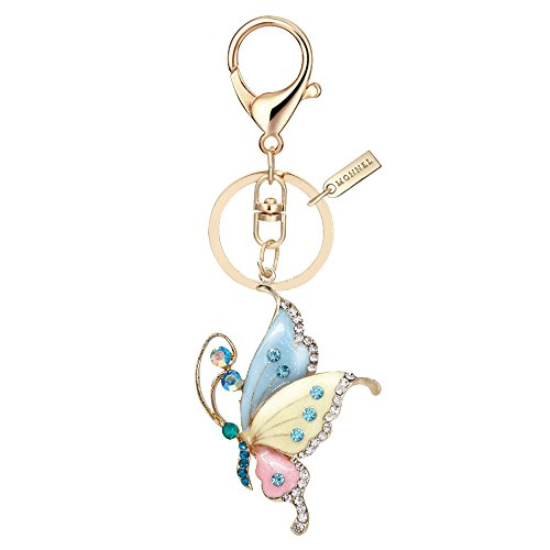 Bling Bling Crystal Butterfly Keychain Key Ring with Pouch Bag (Butterfly Design Keychains)