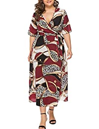FEOYA Women's Plus Size Floral Maxi Dress Sexy V Neck Short Sleeve Long Dress Summer Boho Beach Dress with Belt