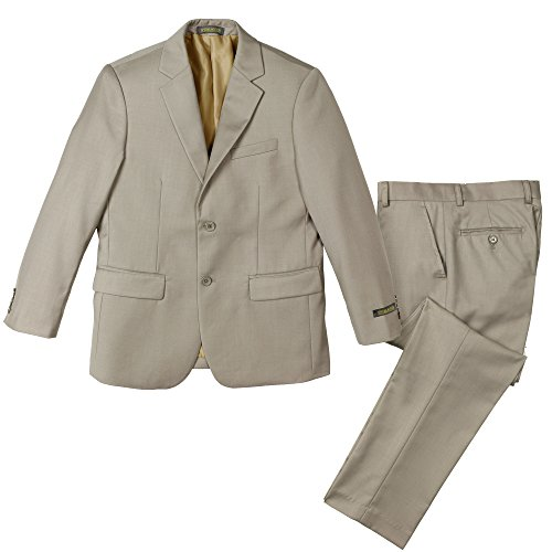 Spring Notion Big Boys' Two Button Suit Tan-B 12 Jacket and ()