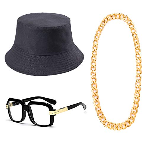80s/90s Hip Hop Costume Kit- Cotton Bucket Hat,Big Chunky Miami Cuban Chain Necklace,80's Gazelle Vintage Glasses (XL) Black