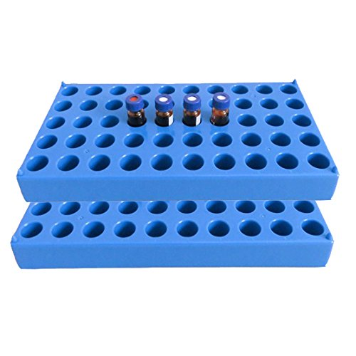 (2 Packs) Vial Rack, Single Blue Holds 50 Standard 12 mm 2 mL vials, Stackable Tube Rack Centrifuge Tubes Rack ()