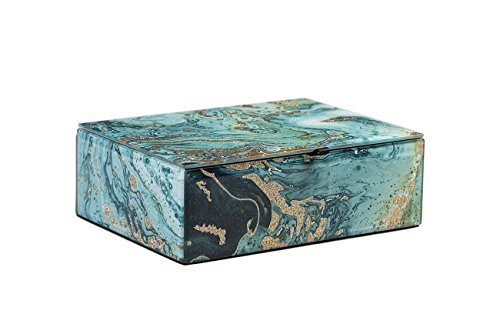 WANYIDA Blue Marble Pattern Glass Storage Box Organizer Case for Women/Men Jewelry Glasses Watch Accessories from WANYIDA
