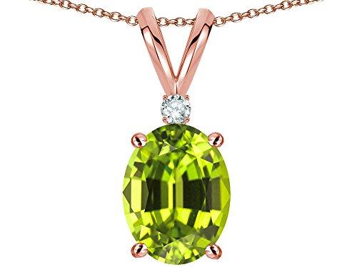 Oval Peridot Slide - Star K Oval 8x6mm Genuine Peridot Rabbit Ear Pendant Necklace 14 kt Rose Gold