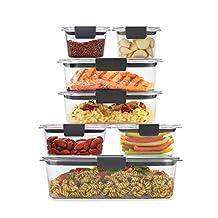 Rubbermaid 2108377 - Juego de 14 recipientes (7 tapas y 7 contenedores.)de plástico sin BPA a prueba de fugas, transparente