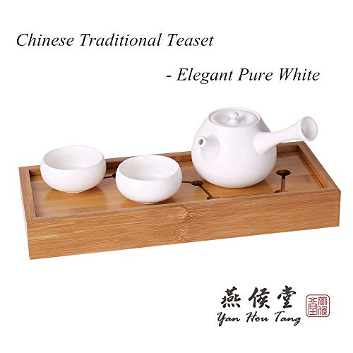 Yan Hou Tang Chinese Ceramic Sake Tea Cup Porcelain Tiny Slim White Cyan Clay 45ml 1.6 Oz - 6 Japanese Teacups Set for Drink Matcha Wine Korean Anniversary Traditional Ceremony Handcrafted Gift Box
