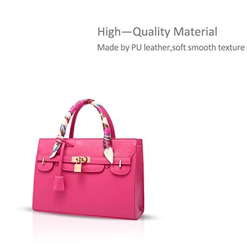 NICOLE&DORIS paquete del bolso del platino modelo cruzado de El nuevo bolso del bolso grande del hombro Rose Red