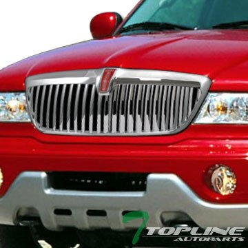 Topline Autopart Chrome Vertical Front Hood Bumper Grill Grille Cover ABS 98-02 Lincoln (Chrome Vertical Hood)