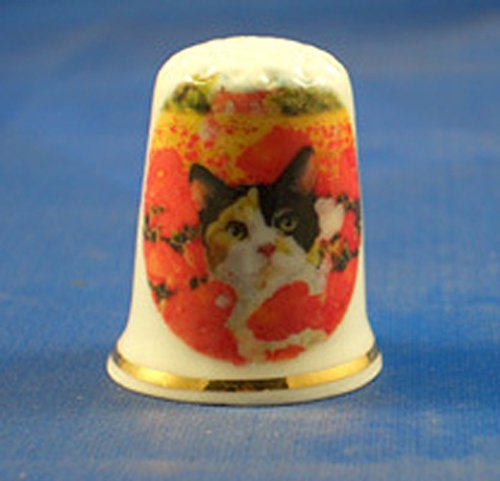 Porcelain China Collectable Thimble -- Tortoiseshell Cat in Poppies