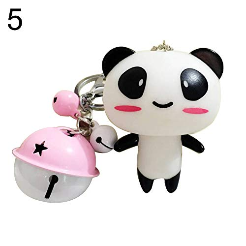 newshijieCOb Cartoon Cute Panda Doll Bell Keychain Key Ring Key Holder Backpack Handbag Car Pendant Ornament Hanging Decor 5#