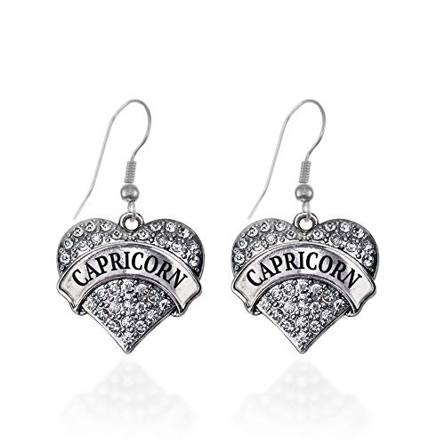 Inspired Silver - Capricorn Zodiac Charm Earrings for Women - Silver Pave Heart Charm French Hook Drop Earrings with Cubic Zirconia Jewelry