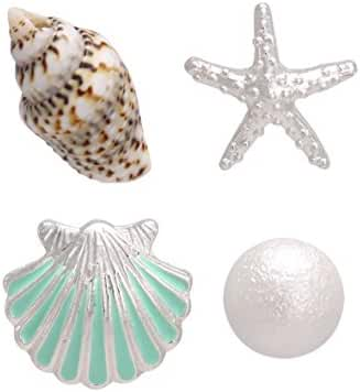 BONALUNA Cute My Beach 4 Different Charms Claim Starfish Conch And Faux Plear Stud Earrings