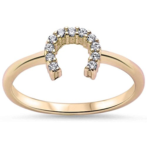 Yellow Gold Plated Cubic Zirconia Horse Shoe .925 Sterling Silver Ring Size 8 (Plated Ring Silver Gold)
