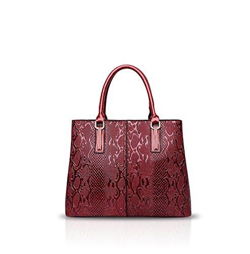 NICOLE&DORIS Moda Mujer Bolso de Crossbody Tote Bolso Bolsa de Hombro Mensajero de Señoras PU Azul Rojo
