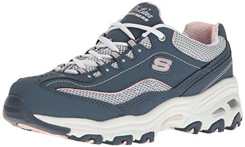 Skechers Sport Dames Dlites Memory Foam Veterschoen Sneaker Navy / White Life Saver