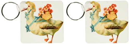 (3dRose Vintage Victorian White Goose Wearing Bonnet And Flower Basket - Key Chains, 2.25 x 4.5 inches, set of 2)