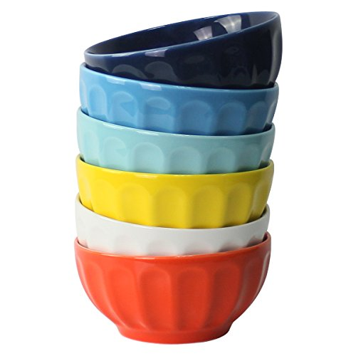Sweese Porcelain Fluted Bowls - Set of 6 - 26 Ounce for Cereal, Soup and Fruit, Assorted Colors