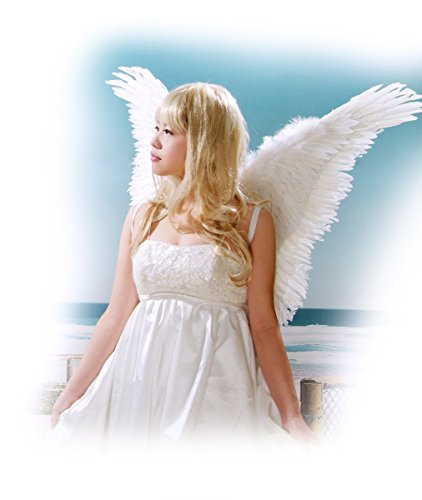 FashionWings (TM) White Butterfly Style Costume Feather Angel Wings &Halo Unisex (Angel Halo Costume)